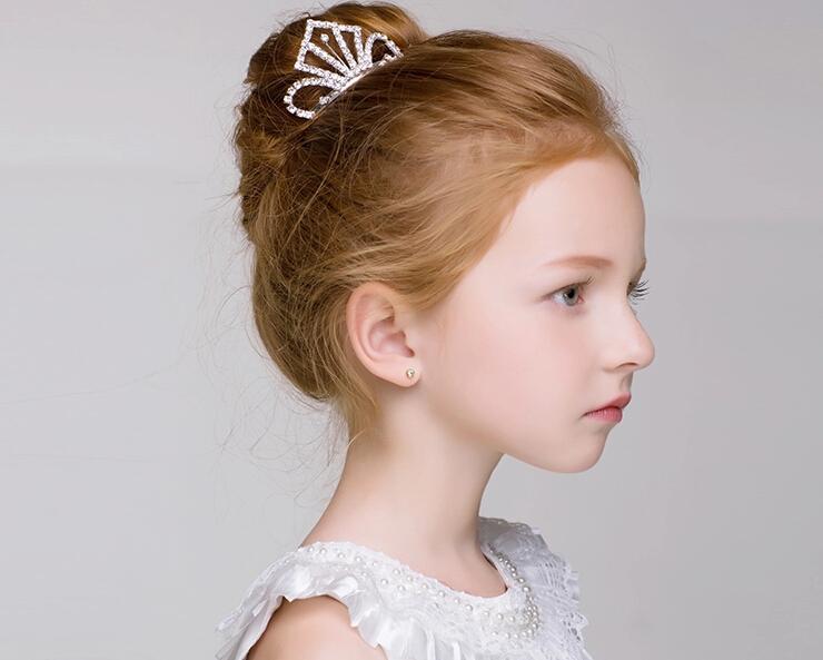 Kristal Elmas Kızlar Headpieces Çocuk Taç Çiçek kız Taklidi Kızlar için Baş Adet Genç Nedime Düğün Aksesuarları Kafa Bandı