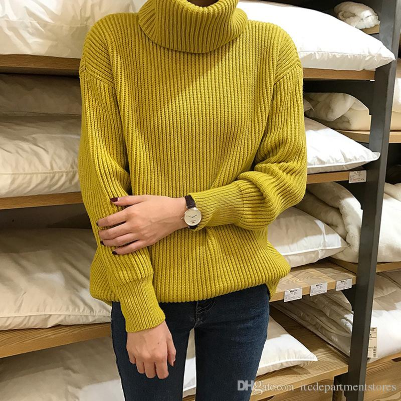 5250558942d56 2019 Korean Simple Basic Winter Knitted Sweaters Women Fashion Turtleneck  Pullover Sweater Female Casual All Match Jumper From Itcdepartmentstores
