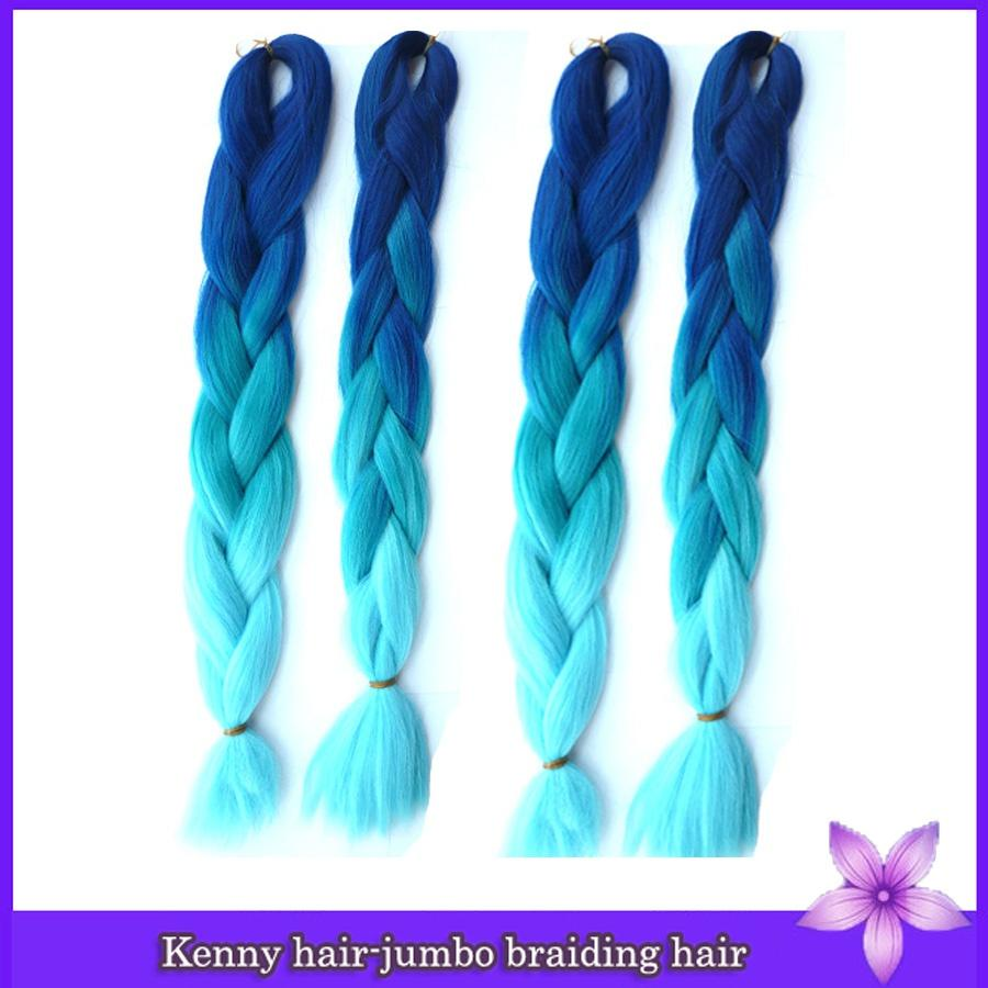 dark blue to light blue ombre braiding hair two toned colour