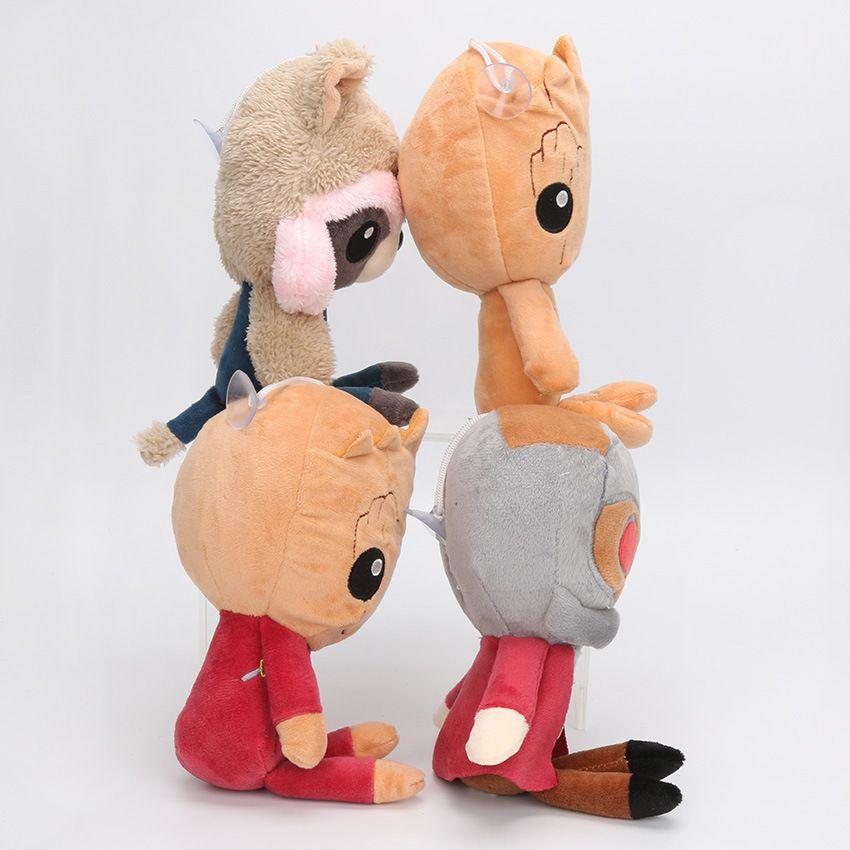 Nueva llegada Guardianes de la galaxia juguetes de peluche de dibujos animados Groot Treeman Mapache de peluche Animal Movie Doll Baby Toy regalos 4 diseños
