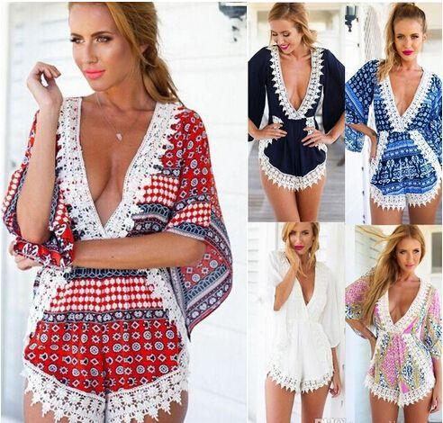 64568967224da 2016 New Fashion Women Deep V Irregular Crochet Beach Jumpsuit Sexy  Stitching Lace Playsuits S M L XL Ladies Flower Print Romper Jumpsuit
