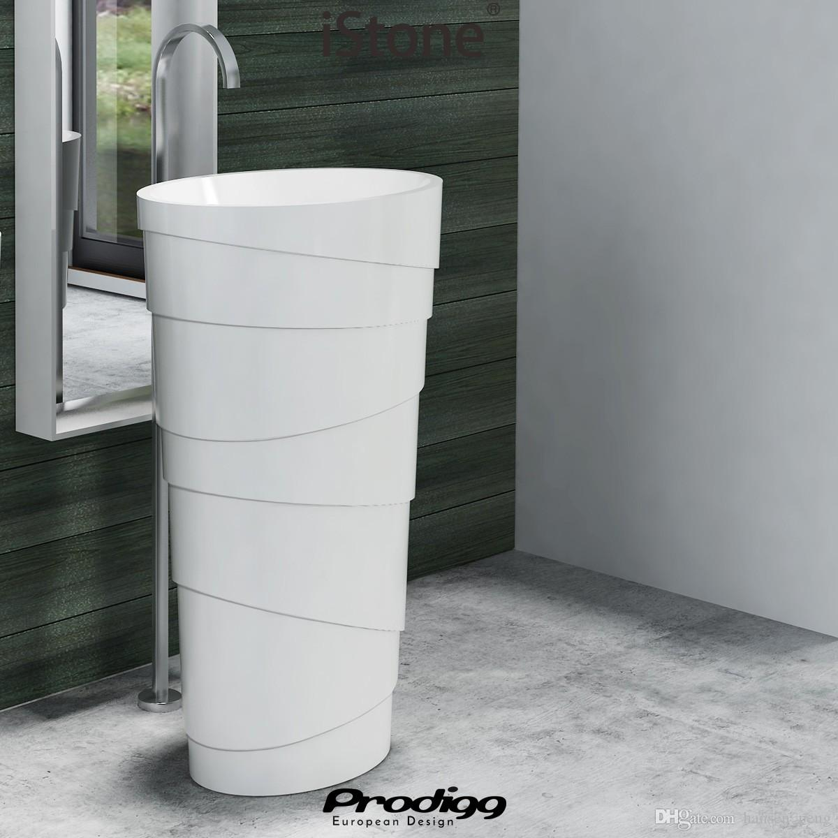 600x400x900mm CUPC Certificate Freestanding Solid Surface Stone Bathroom Wash Basin Cloakroom Oval Pedestal Vessel Sink RS38192
