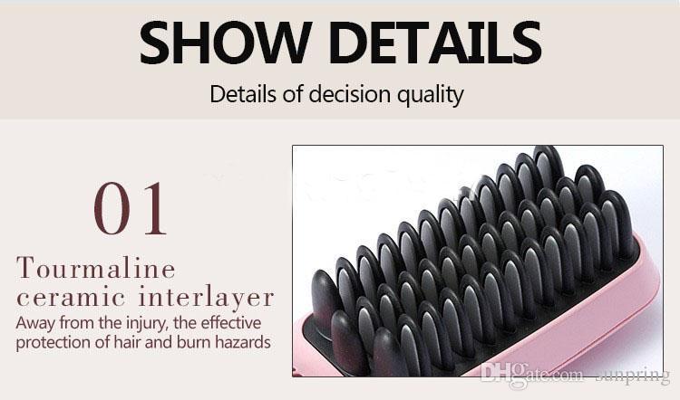 2016 2 1 İyonik Saç Düzleştirici Tarak Ütüler Otomatik LCD Ekran Düz Saç Fırçası Tarak Doğrultma Pembe Siyah DHL tarafından