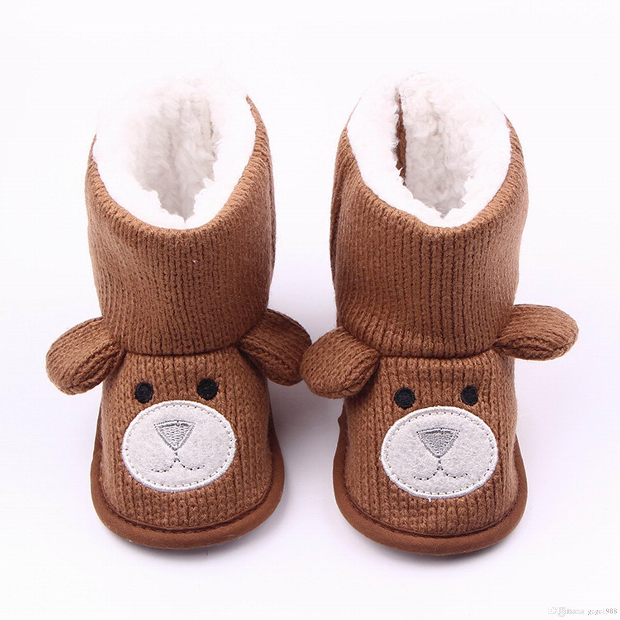 Brown Baby Winter Boots Infant Toddler Newborn Cute Cartoon Bear