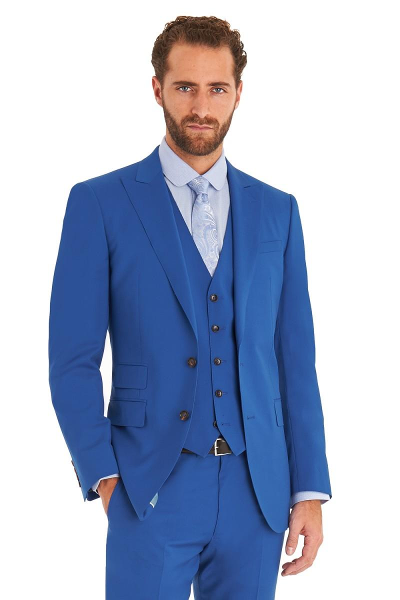 Royal Blue Groom Tuxedos Peaked Lapel Wedding Suits For Men Three ...