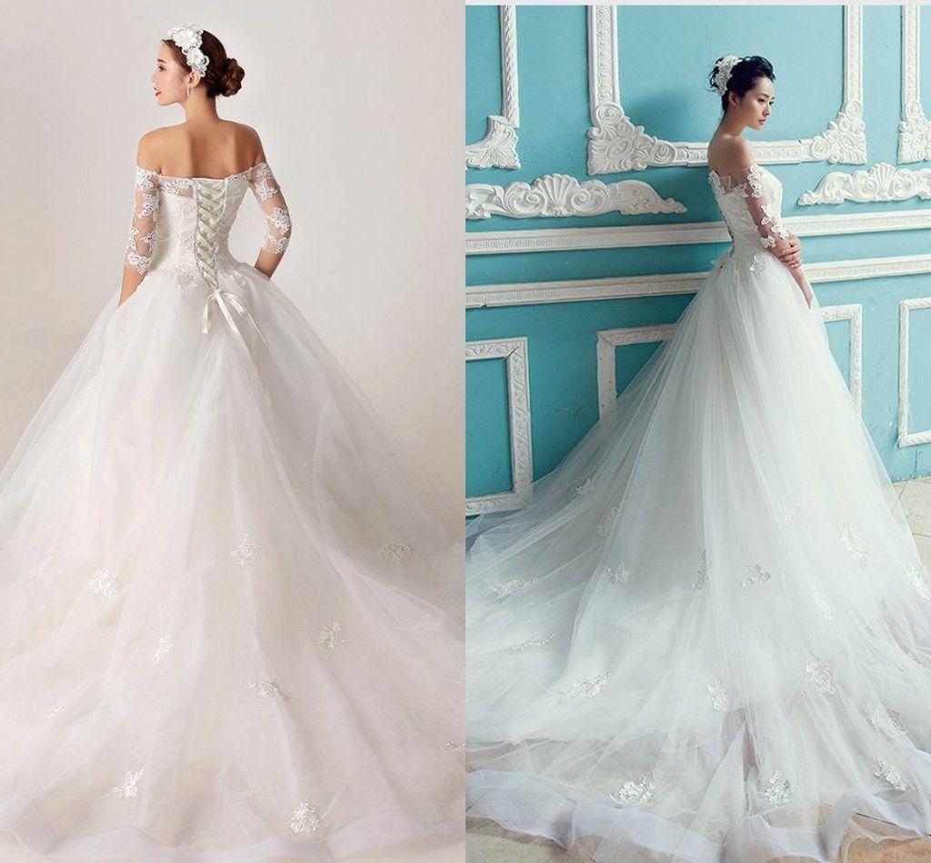 2017 Vintage Princess Wedding Dresses With Half Cap Sleeve Court ...