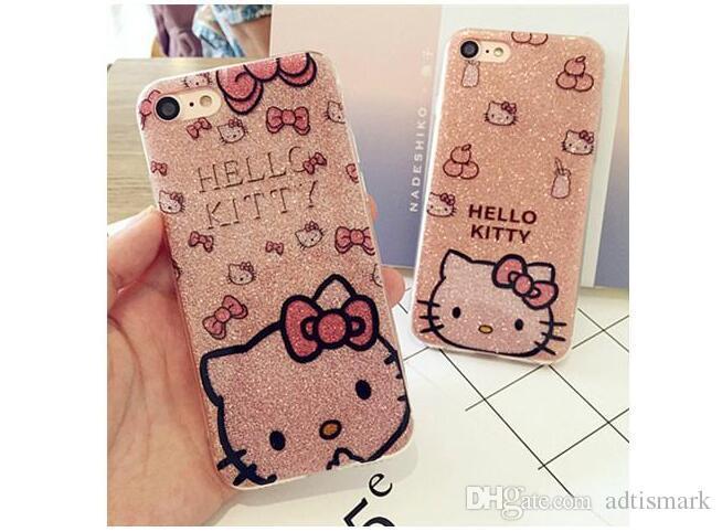 Hallo kitty soft side pc case abdeckung für iphone x 8 6 s 6 plus 7 7 plus bling glitter powder shine handy case