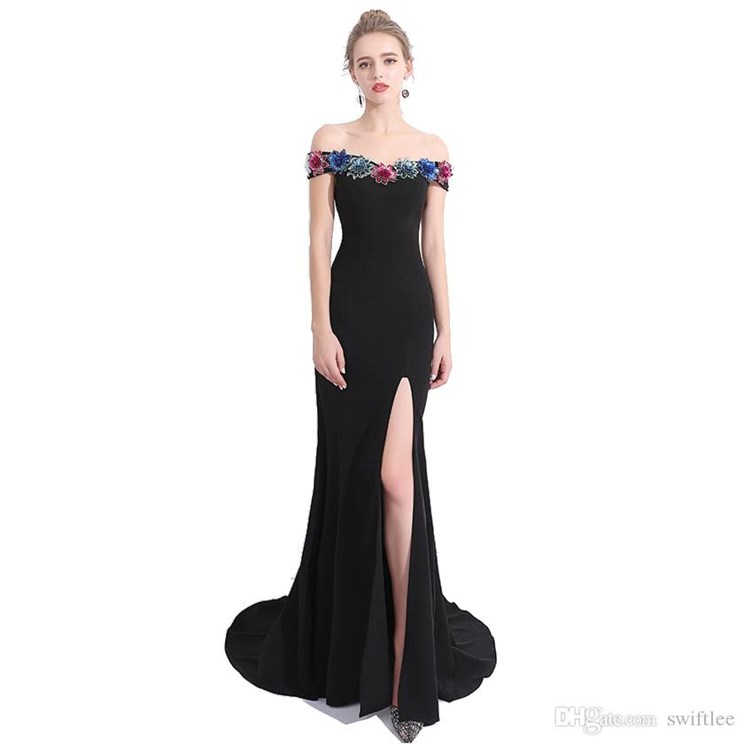 CEEWHY Boat Neck Abendkleider Vestido De Festa Appliques Prom Dresses  Mermaid Evening Dress Long Prom Party Gown Vestido Longo Appliques Prom  Dresses ... 4eaf4d5e1dd5