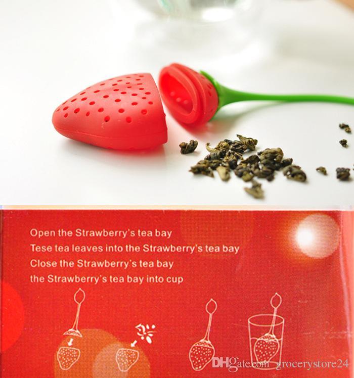 Горячие продажи новых фруктов клубника форма силиконовые чай Infuser ситечко травяные специи лист RT Бесплатная доставка