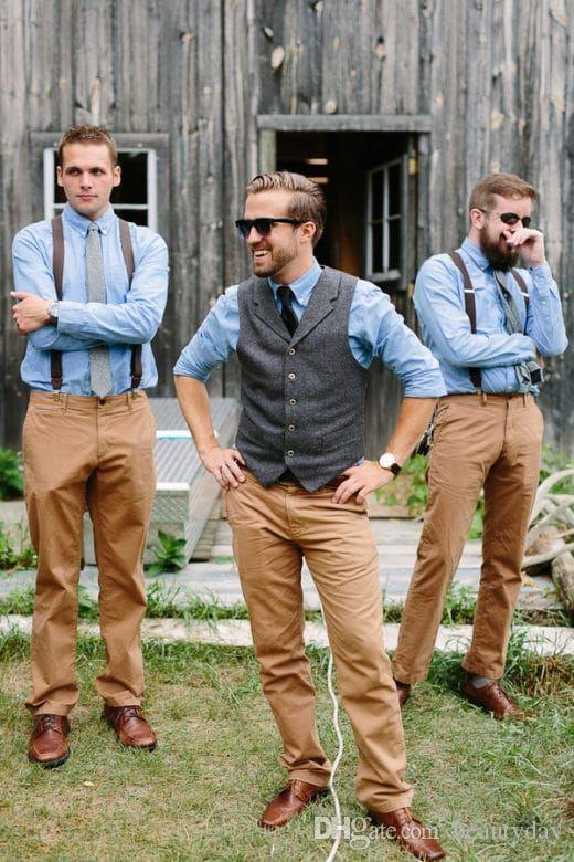 2018 Farm Gray Wedding Wool Herringbone Tweed Vests Custom ...