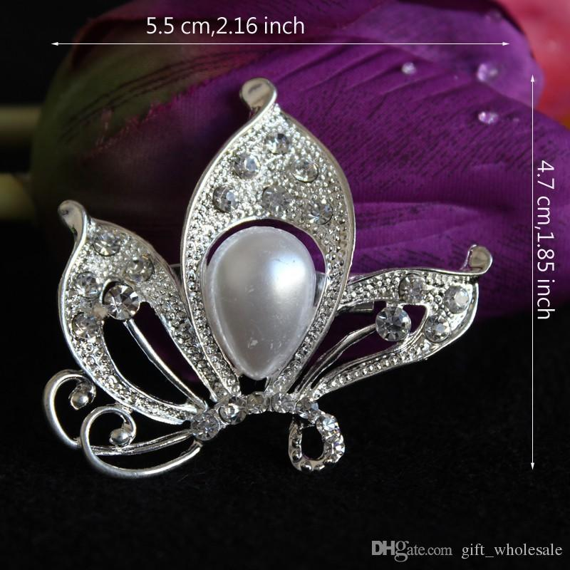 3 Styles Silver Gold Plated Clear Rhinestone Crystal Pearl Nice Design Dragonfly Butterfly Grape Small Brooch