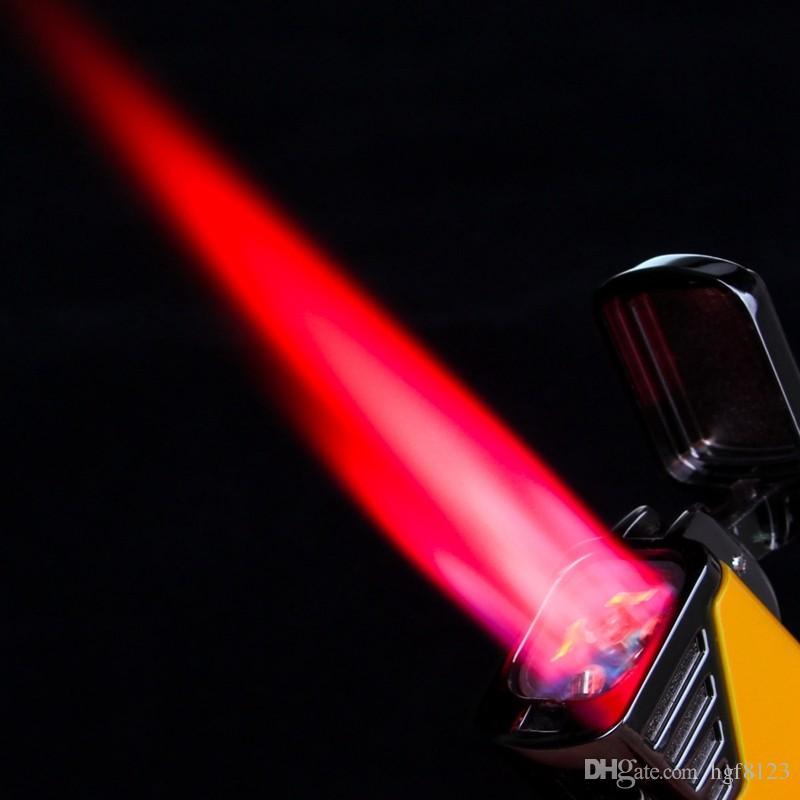 Nueva Llegada Al Por Mayor COHIBA Accesorios de Bolsillo Calidad Metal Butano Gas A Prueba de Viento 4 Torch Jet Llama Encendedor