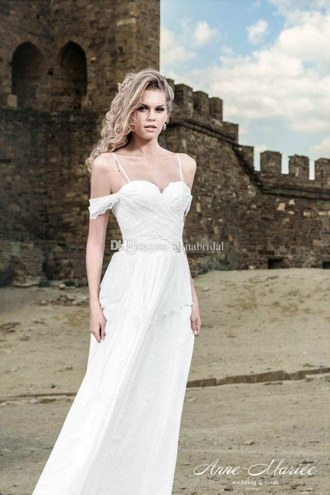 Omuz Boho Gelinlikler Gelin Giydirme Basit vestidos de Novia kapalı 2015 Yaz Plaj Gelinlik Seksi Spagetti sapanlar Dantel