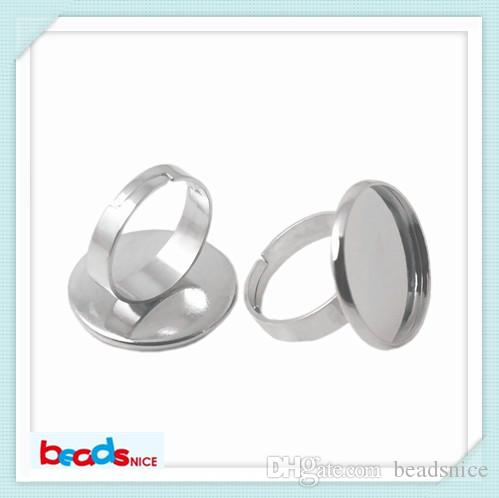 BeadSnice Ring Blanks Messing Verstelbare Ring Base voor Sieraden Maken Semi Mount Ring Setting Round ID9541