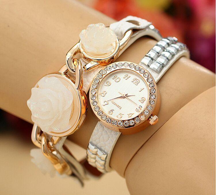 2015 New fashion Roses Orologi cinturino in pelle orologio donna orologio da polso in pelle mix colori regalo di Natale
