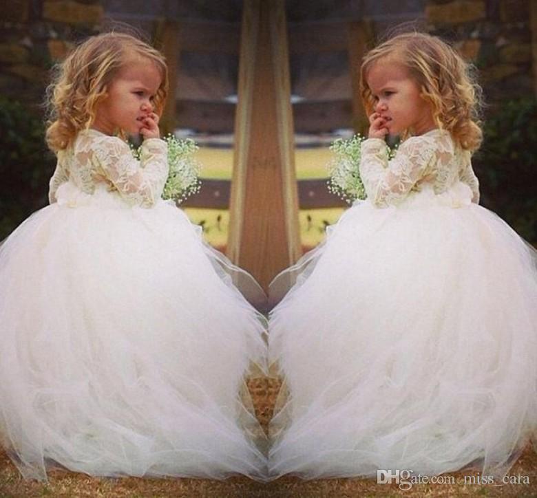 Großhandel Süße Spitze Blumenmädchen Kleid Für Hochzeiten Vintage ...