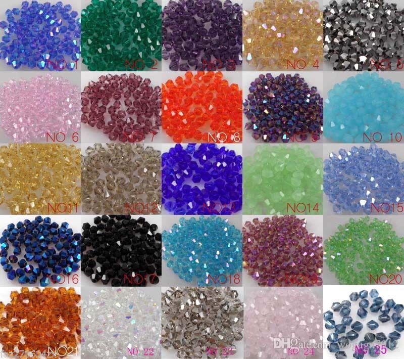 Vente en gros 4mm Bicone Perles d'entretoise en cristal lâche / pour bijoux Fournitures Fournitures Collier Bracelet Collier DIY Accessoires U Chemin