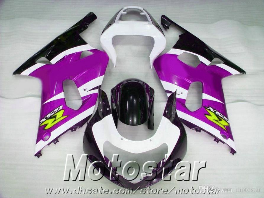 ABS plastic fairings set for SUZUKI GSXR600 GSXR750 2001-2003 K1 GSX-R 600/750 01 02 03 black purple white fairing kit SK70
