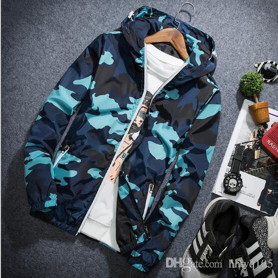 cb47ec5c53914 Men Camouflage Hooded Jacket Reflective Zipper Jacket Coat Windbreaker  Waterproof Field Military Jackets Lovers Casual Coat NSG0902 Down Leather  Jacket ...