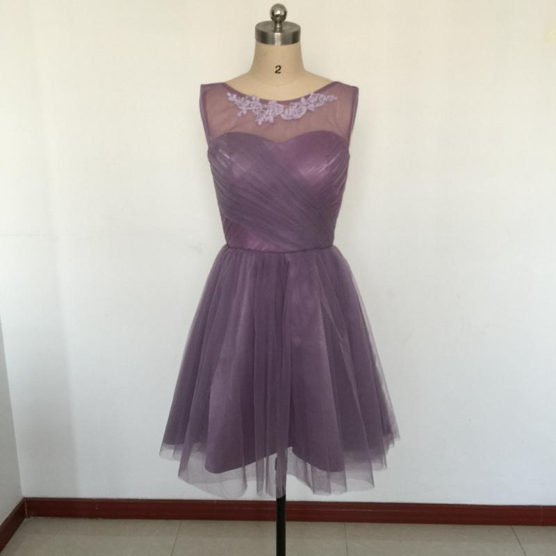 Elegant Plum Bridesmaid Dresses Short Real Photo Knee-length ...