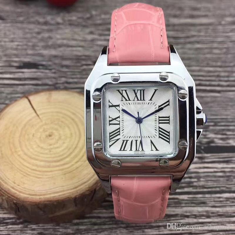 hot Fashion women watches casual 32mm Square dial Leather Strap dress quartz wrist watch for ladies girls female best gift Montre Femme