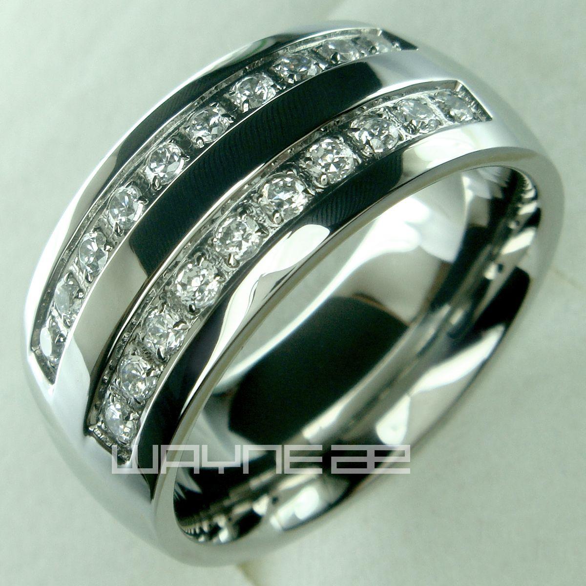 Roestvrij staal CZ bruiloft verlovingsring band R178A maat 8-15