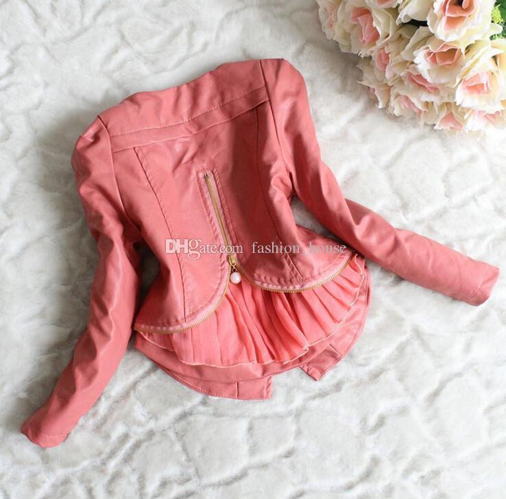 2014 yeni 3 renkler Kış Çocuk Kız Deri Ceket Çocuk Kız Uzun Kollu Zip Yamalı Dantel Kalın Ceket Childs Rüzgar Coat 4 adet / grup