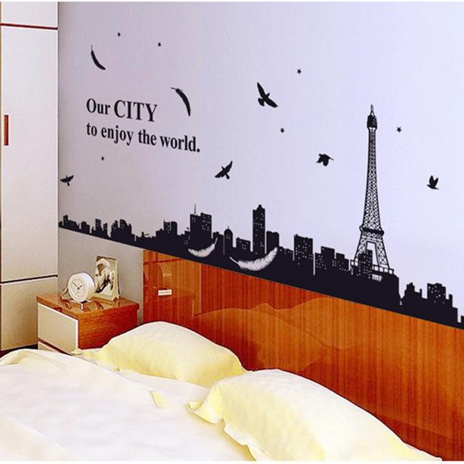 Huge Paris Scenery Eiffel Tower Wall Decals Mural Stickers Decor Removable  Diy Art Wall Stickers Home Decor Stickers On The Wall Part 84