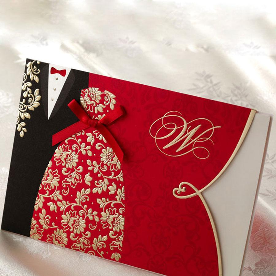 Wedding Invitations From China: Typical Chinese Korean Red Wedding Invitations Dress Suit