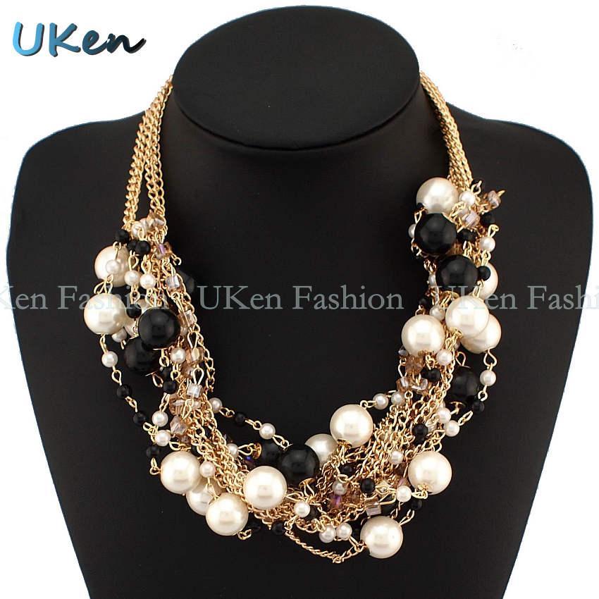 Moda Multi Gold Chains Cross Pearl Dhinestones Koraliki Choker Oświadczenie Naszyjniki Bijouterie dla kobiet Dress N1832