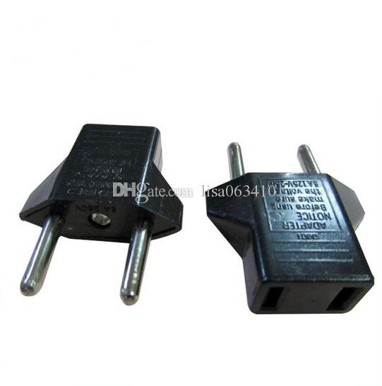 Brand New Black US Standard Convert to EU plug Adapter EU Travel Chargers Round Feet Chargers 250V 6 A Free DHL