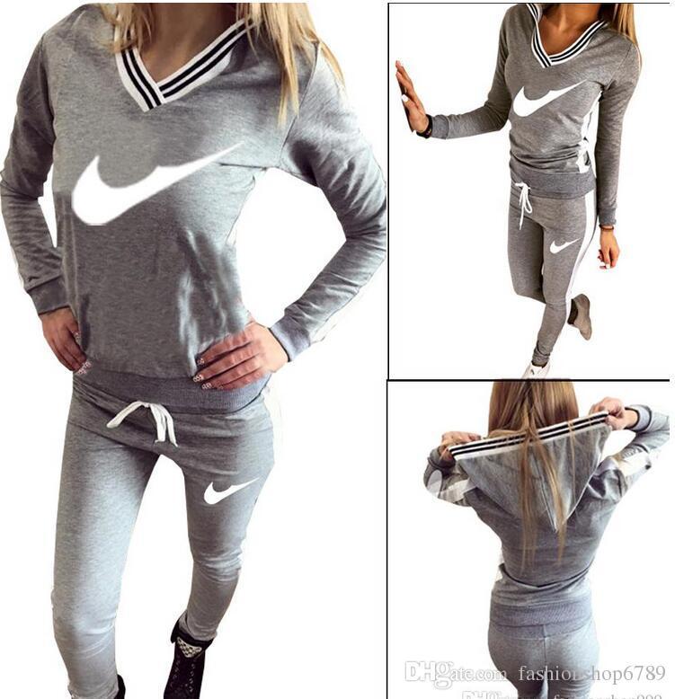 9076 # Kadın Spor Takım Elbise Hoodie Kazak + Pantolon Koşu Femme Marque Survetement Spor 2 adet Set Eşofman S-XL