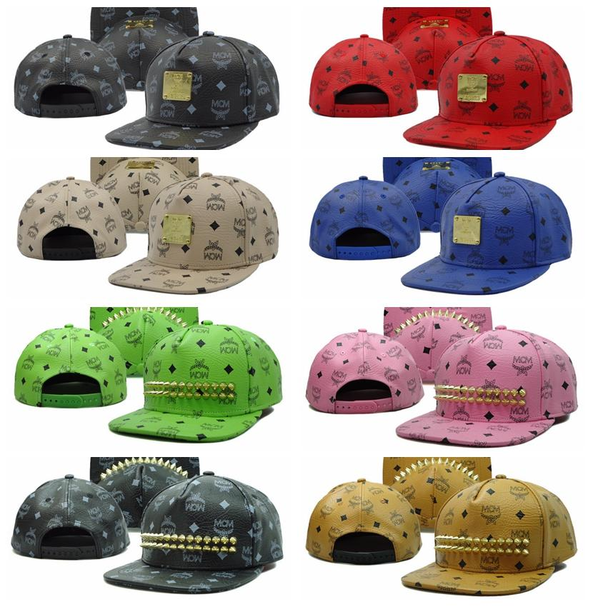 2015 New Designer MCM Snapbacks With Rivets Leather Hats Men Women Hip Hop  Cap Streetwear High Quality Cheap Snapback Hats Fitted Hats Baseball Hats  From ... 2b58c058f10