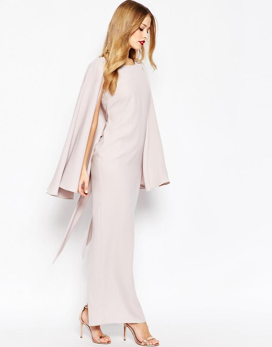 Long Party Dress Split Cape Sleeves Scoop Open Back With Strap ...