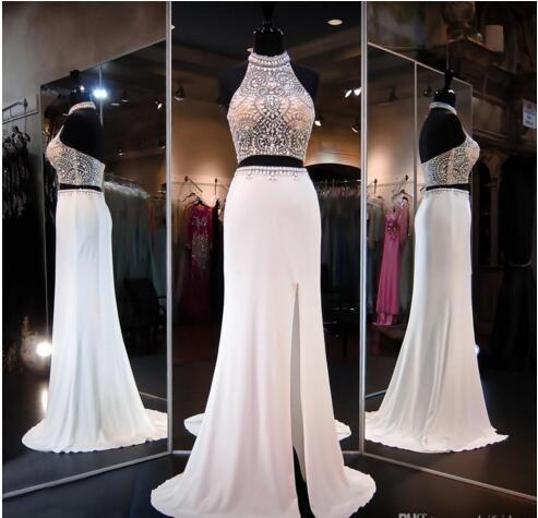 Ivory Two Pieces Dresss Prom Vestidos High Beaded Neck Halter Open Back Slit Illusion Top crop Mermaid Vestidos de baile Vestidos de fiesta