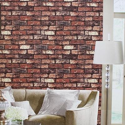 Redpinkblack Brick Wallpaperliving Room Modern Embossed Vinyl