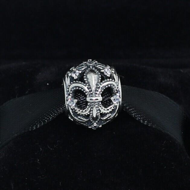 925 Sterling Silver Fleur de Lis Openwork Charm Bead with Cz Fits European Pandora Jewelry Bracelets & Necklaces