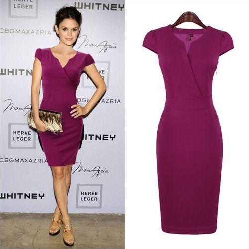 fdf04ae56b 2019 Purple Elegant Lady OL Work Dresses Fashion Street Style V Neck ...