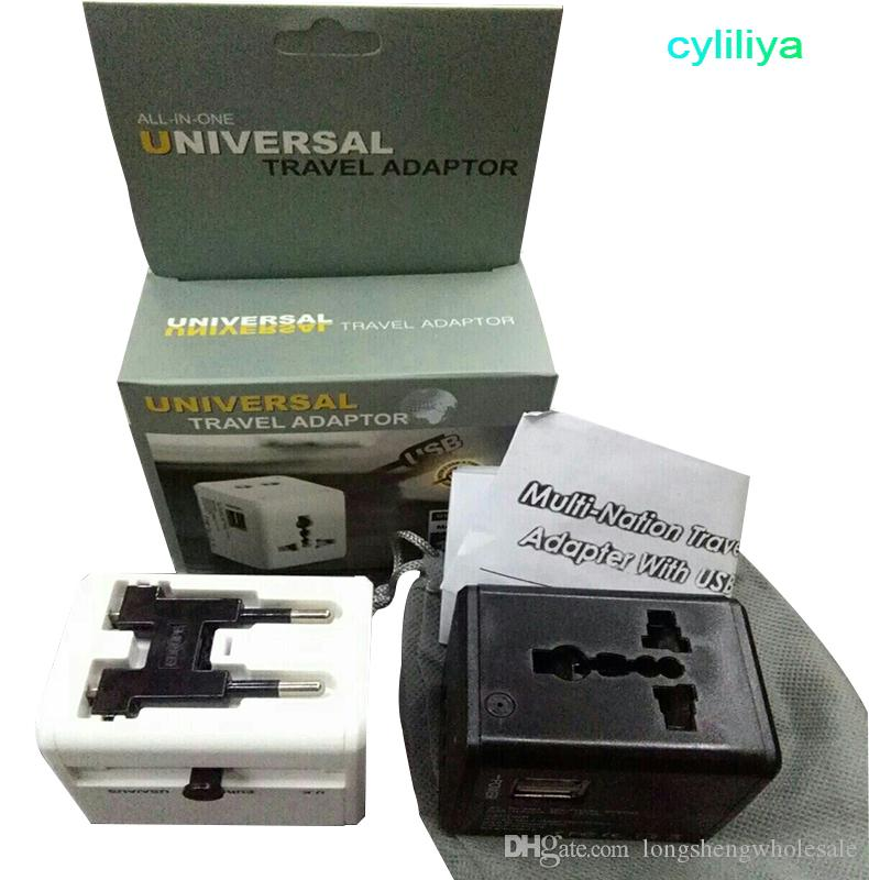 미국 영국 EU AU 플러그 유니버설 듀얼 포트를 갖춘 하나의 국제 여행용 전원 어댑터 충전기 USB 벽 충전기 5V / 1A