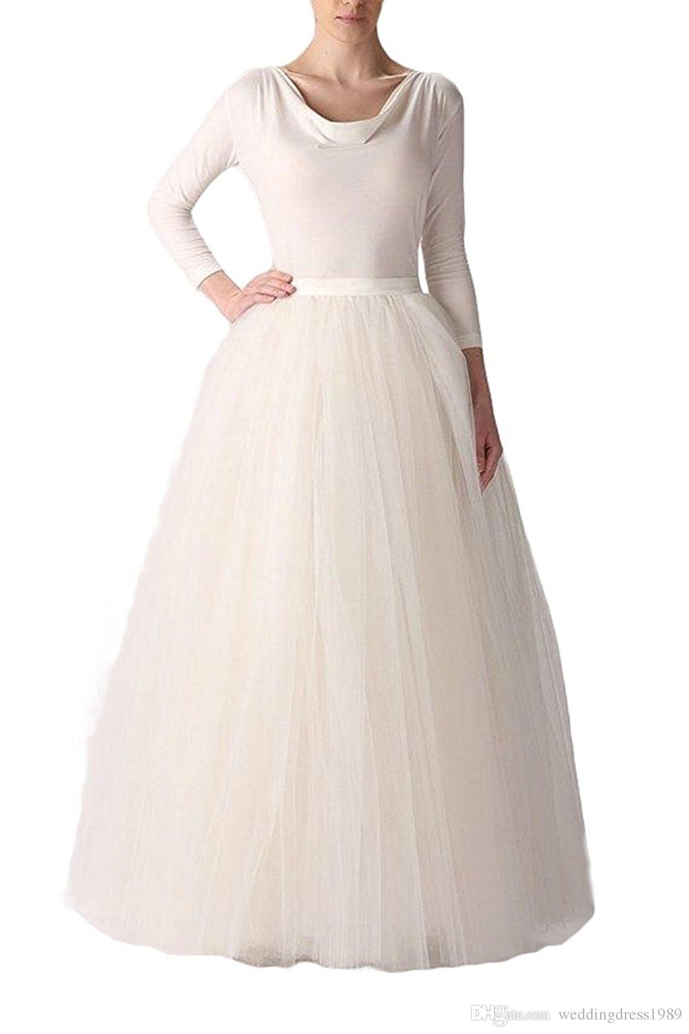 Hot Selling Long A-Line Tutu Floor Length Tulle Party Prom Skirt Color Petticoat Half Slip Underskirt Stock Cheap Free Shipping