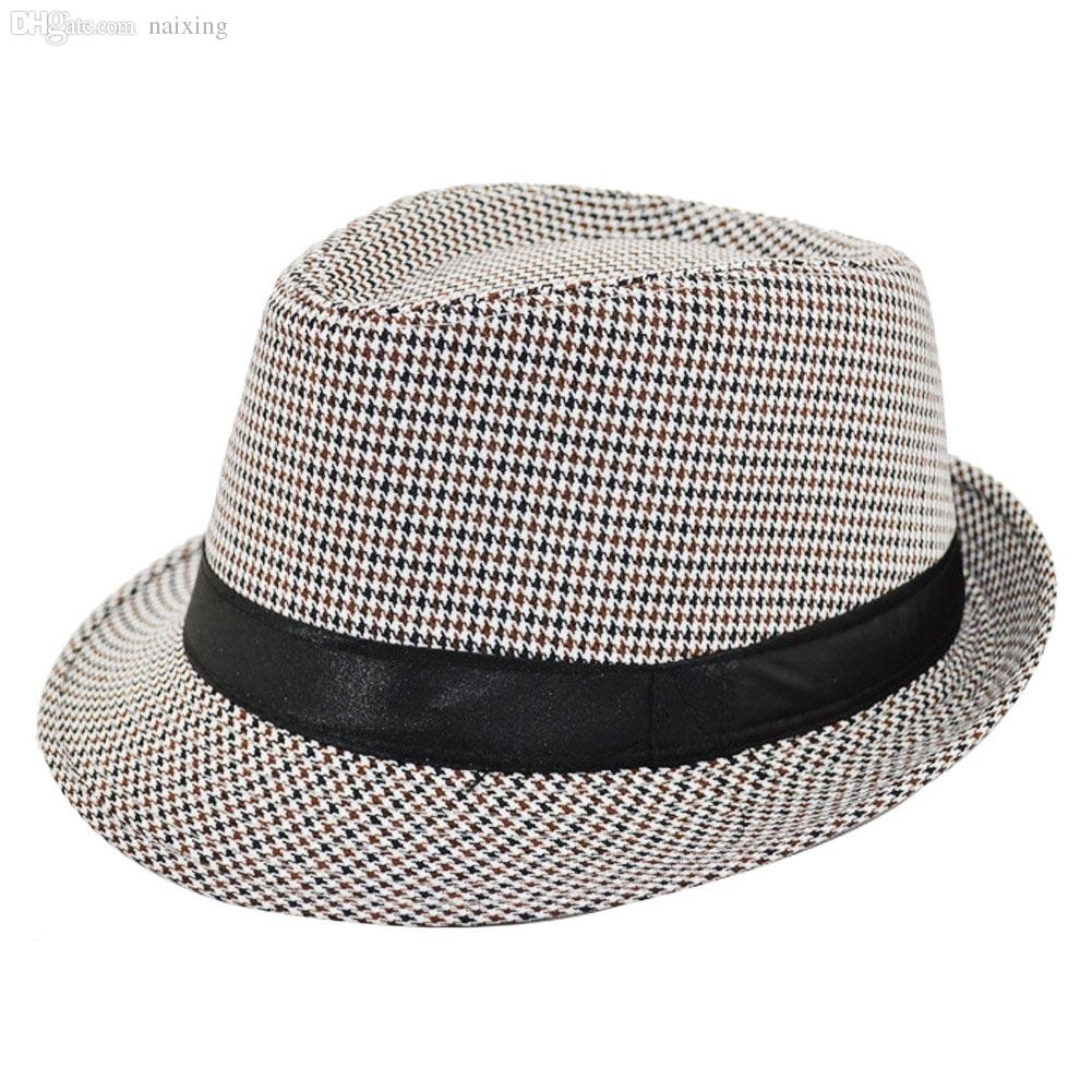 ebf40fcfec3 Wholesale-Fashion Unisex Fedora Hat Houndstooth Pattern Mens Fedora ...