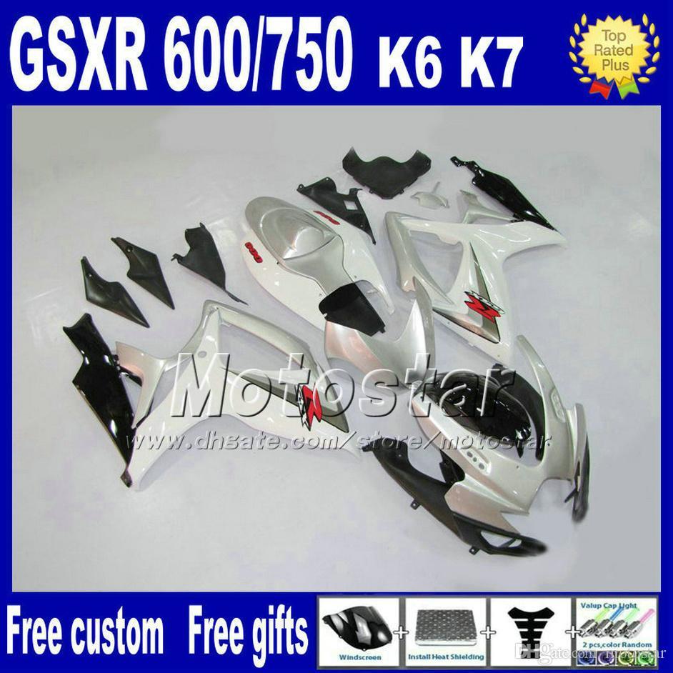 Zestaw wentylowania dla Suzuki GSXR 600/750 06 07 K6 Białe Czarne Silver Fairings Set GSX R 600 GSX R 750 2006 2007