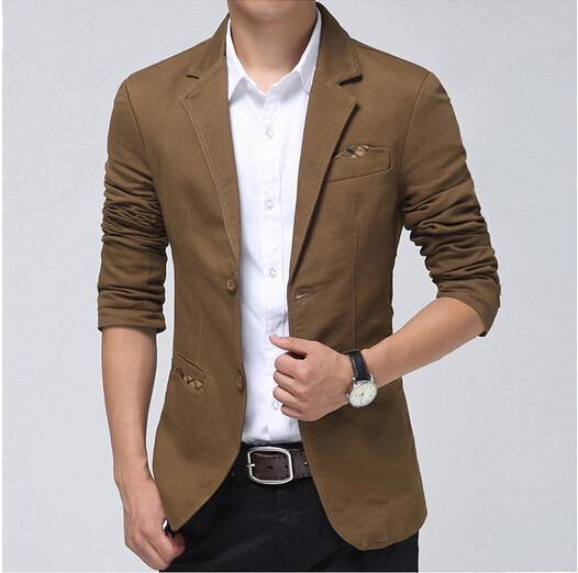 Casual Blazer Men KhakiBrown Black Fashion Slim Mens Blazer Suit Jacket Spring Autumn Ternos ...