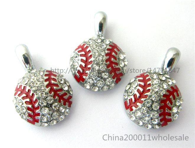 Beyzbol Futbol asın kolye Charms Fit Pet Yaka Telefon Fit Pet Yaka Telefon Neckllace Şeritler Yapay elmas asın kolye Charms Şeritleri
