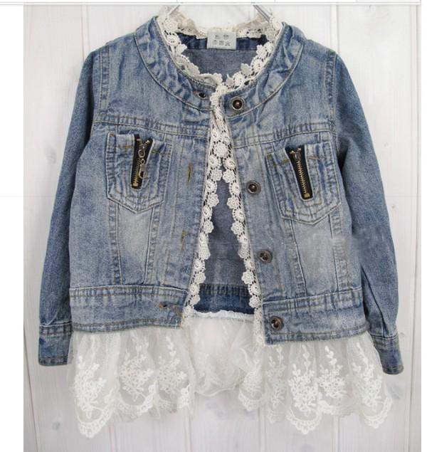 Babys Kleidung Denim Spitze Mädchen Jacken Mädchen Freizeit gewaschen Denim Jacke Kinder Kleidung Kinder Overcoat Outwear