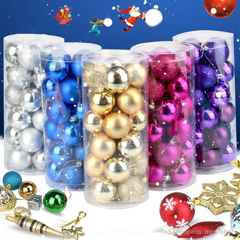 Christmas Tree Balls Ornaments Shatterproof Balls Xmas Trees Wedding Parties Mini Tree Decorations For Holiday With Muticolor DHL free