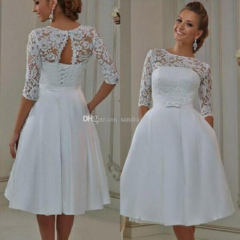 Vintage Lace Short Wedding Dresses With Pockets Half Sleeves Knee ...