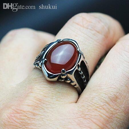Wholesale Black Onyx Red Agate Ring For Men Thick Band In Antique