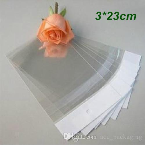 3cm * 23cm Trasparente Sacchetto autoadesivo Sacchetto di plastica OPP Sacchetto poli Imballaggio imballaggio al dettaglio Sacchetto con gancio Foro Commercio all'ingrosso 500 Pz / lotto Sacchetti regalo sacchetto