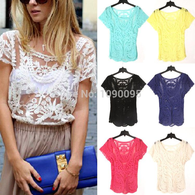 f2a1772a9c 2019 Women Summer Sexy Hollow Out Blouse Embroidered Floral Lace Crochet  Short Sleeve Shirt Knitwear Lace Tops Hollow Out Lace Tops From  Just4fashion